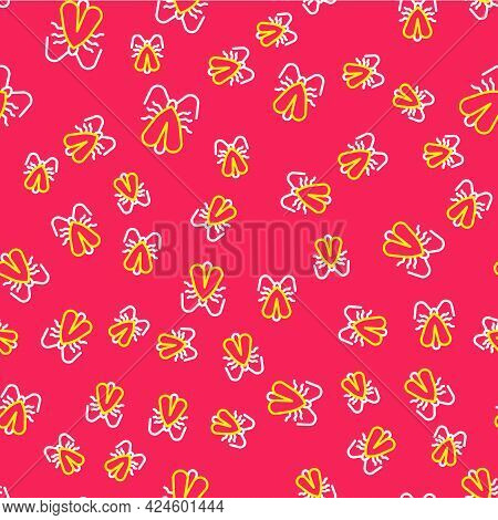 Line Clothes Moth Icon Isolated Seamless Pattern On Red Background. Vector