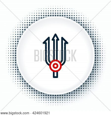 Line Neptune Trident Icon Isolated On White Background. Colorful Outline Concept. Vector