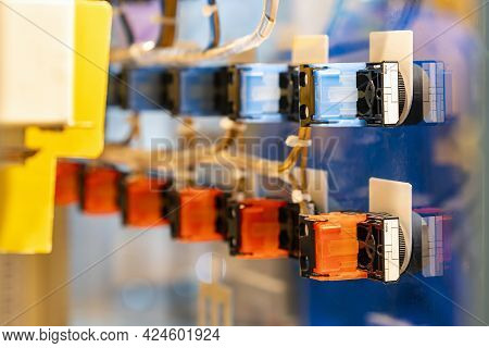 Various Color Signal Lamp Indicator And Push Button Switch Install At Electric Power Control Cabinet