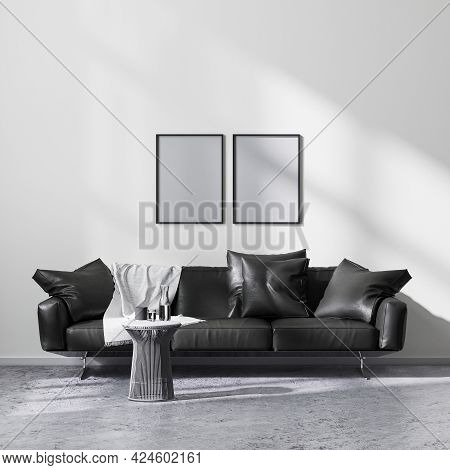 Mock Up Poster Frames In Modern Minimalistic Style Living Room Interior With Black Sofa, 3d Renderin
