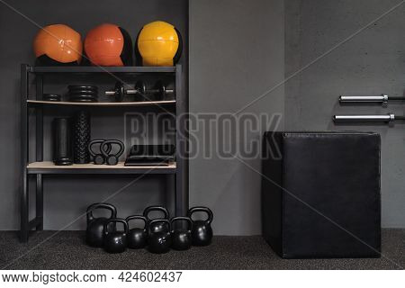 Professional Equipment For Fitness, Workout And Weight Training On Floor In Gym. Jumping Box, Set Of