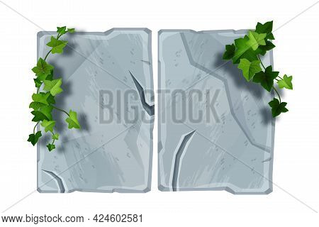 Stone Sign Board Vector Cartoon Illustration, Cracked Gray Rock, Green Ivy Leaf, Creeper Plant On Wh