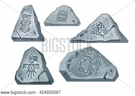 Stone Rock Vector Cartoon Set, Maya Tribal Symbol Collection Isolated On White, Nature Game Elements