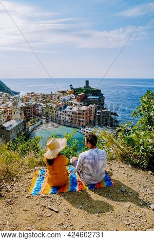 Cinque Terre, Italy, The Picturesque Coastal Village Of Vernazza, Cinque Terre, Italy, Couple Man, A