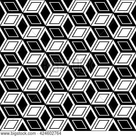 Seamless Geometric Diamonds And Hexagons Op Art Pattern With 3d Illusion Effect. Vector Illustration