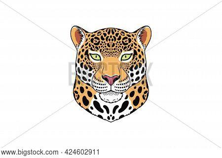 Jaguar Head With Green Eyes, Isolated Jaguar Face. Panther, Predatory Wildcat. Jaguar Silhouette, Lo
