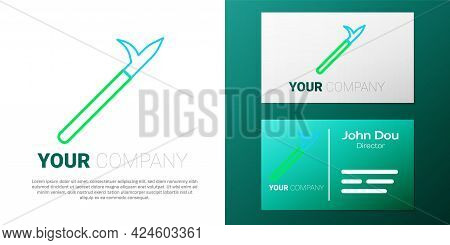 Line Metal Pike Pole With Wooden Handle Icon Isolated On White Background. Spear, Pickaxe, Hook Hand