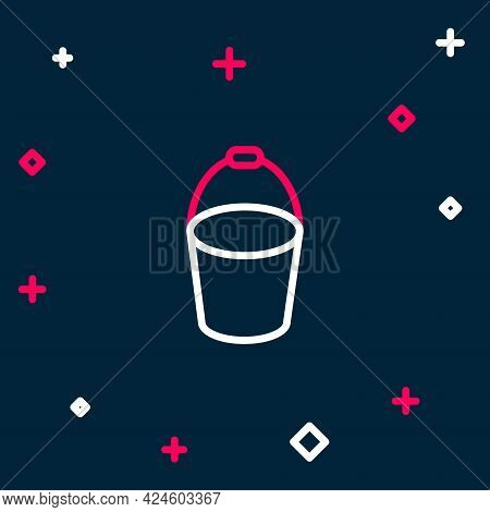 Line Fire Bucket Icon Isolated On Blue Background. Metal Bucket Empty Or With Water For Fire Fightin