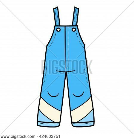 Blue Winter Insulated Pants With Straps For Boy Color Variation For Coloring On A White Background