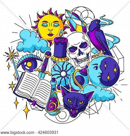 Magic Background With Mystery Items. Mystic, Alchemy, Spirituality Symbols.