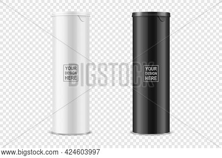 Vector 3d Realistic Blank Glossy White, Black Glossy Metal Tin Can, Canned Food, Potato Chips Packag