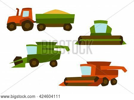 Agricultural Set Of Harvesting Items. Combine Harvesters And Tractor.