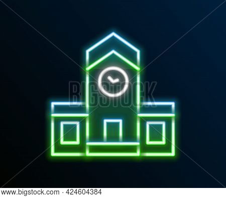 Glowing Neon Line Railway Station Icon Isolated On Black Background. Colorful Outline Concept. Vecto
