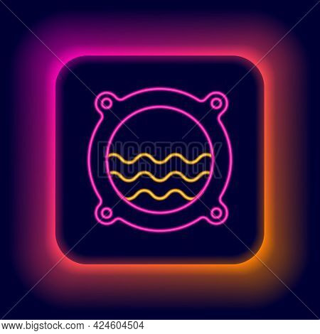 Glowing Neon Line Ship Porthole With Rivets And Seascape Outside Icon Isolated On Black Background.