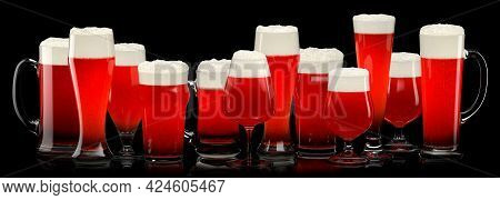 Set Of Fresh Draft Beer Glasses With Bubble Froth Isolated On A Black Background. 3d Rendering Conce