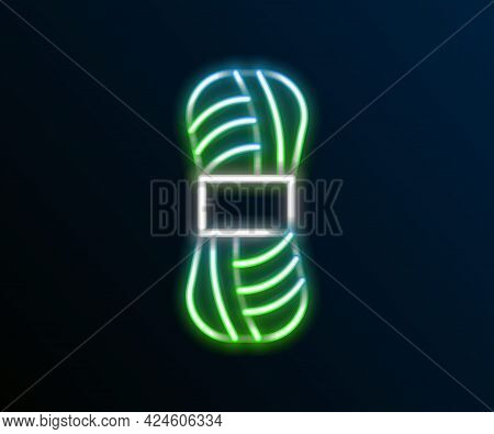 Glowing Neon Line Yarn Icon Isolated On Black Background. Label For Hand Made, Knitting Or Tailor Sh