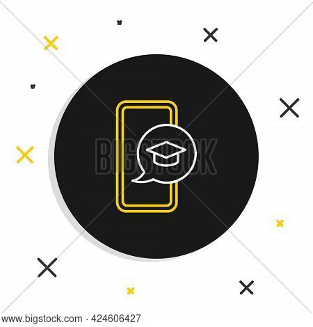 Line Graduation Cap On Screen Smartphone Icon Isolated On White Background. Online Learning Or E-lea