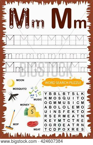 Educational Worksheet For Children Learning The English Alphabet. Handwriting And Crossword Puzzle G