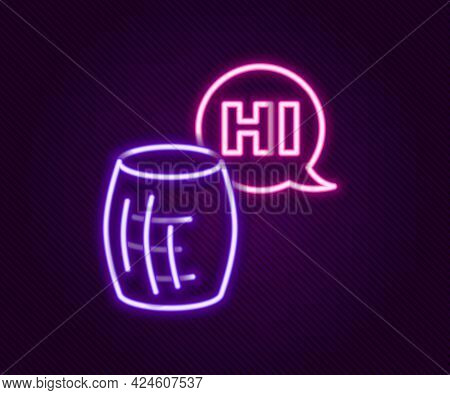 Glowing Neon Line Voice Assistant Icon Isolated On Black Background. Voice Control User Interface Sm