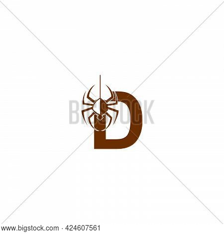 Letter D With Spider Icon Logo Design Template Vector