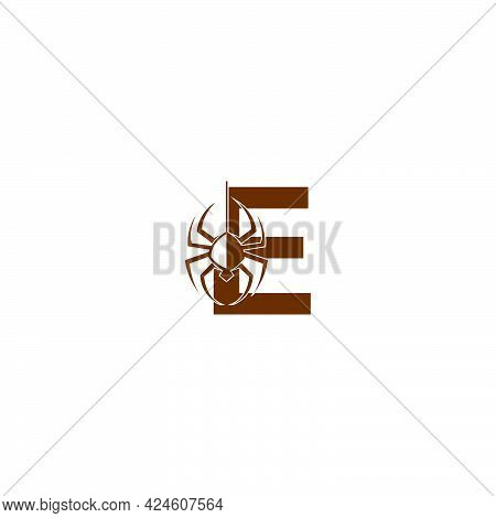 Letter E With Spider Icon Logo Design Template Vector