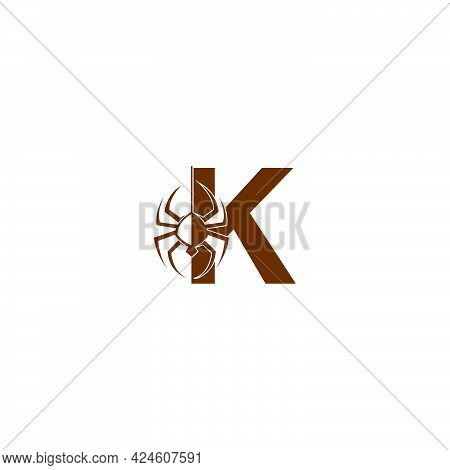 Letter K With Spider Icon Logo Design Template Vector