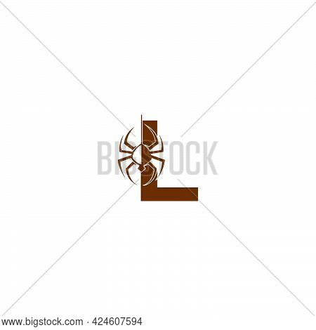 Letter L With Spider Icon Logo Design Template Vector