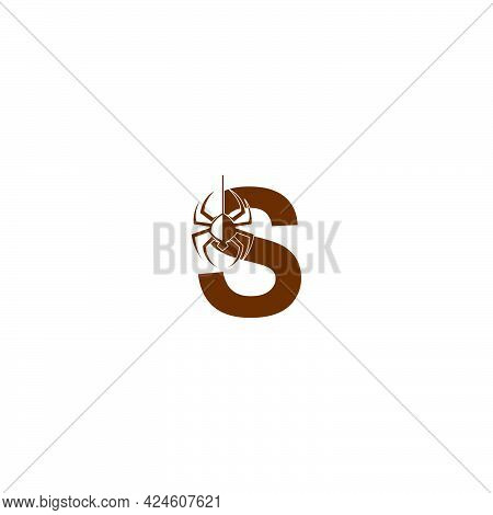 Letter S With Spider Icon Logo Design Template Vector