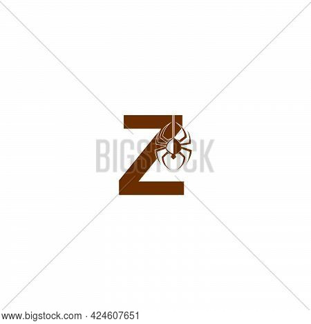 Letter Z With Spider Icon Logo Design Template Vector