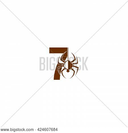 Number 7 With Spider Icon Logo Design Template Vector