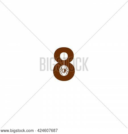 Number 8 With Spider Icon Logo Design Template Vector