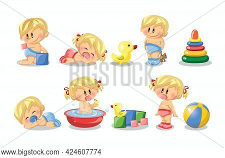 Vector Illustration Of Baby Boys And Baby Girls And Daily Routine Set Of Cute Cartoon Infancy And In