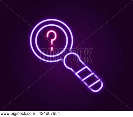 Glowing Neon Line Unknown Search Icon Isolated On Black Background. Magnifying Glass And Question Ma