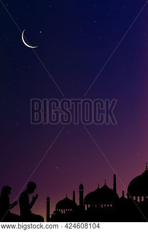 Eid Mubarak Card With Mosque Silhouette,ramadan Kareem With Prayer And Mosque, Muslim Man And Woman