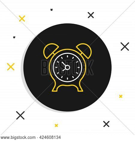Line Alarm Clock Icon Isolated On White Background. Wake Up, Get Up Concept. Time Sign. Colorful Out