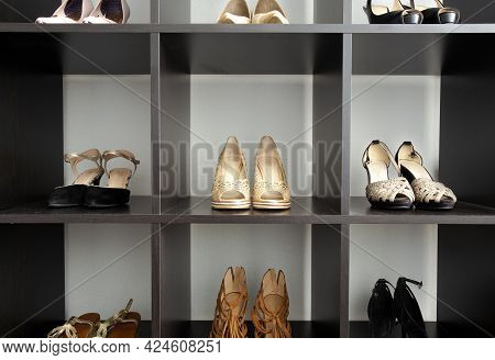 Women Elegant And Luxury Shoes, Heels In Shoe Sorted Rack Storage, Fashion And Glamour Shoes Stylish