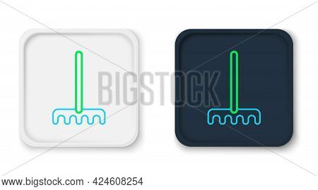 Line Garden Rake Icon Isolated On White Background. Tool For Horticulture, Agriculture, Farming. Gro