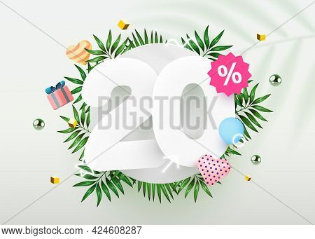 20 Percent Off. Discount Creative Composition. Summer Sale Banner With Decorative Objects, Palm Leav