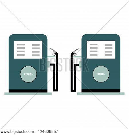 Fuel Filling Machine For Automobiles In A Gas Station. Petrol And Diesel Filling Machines For Automo