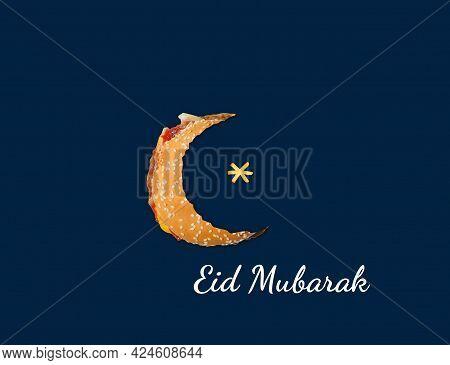 Burger Eid Day Concept. Eid Mubarak Burger Or Restaurant Concept. Burger In Eid Moon Shape Ramadan C