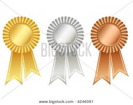 Gold, Silver And Bronze Rosettes