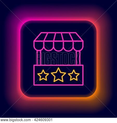 Glowing Neon Line Ticket Box Office Icon Isolated On Black Background. Ticket Booth For The Sale Of
