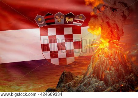 Volcano Eruption At Night With Explosion On Croatia Flag Background, Troubles Because Of Eruption An