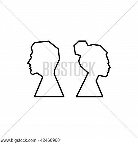Silhouette Of Men And Women Who Quarrel And Turn Their Backs Icon. Psychology. Divorce Of A Young Co