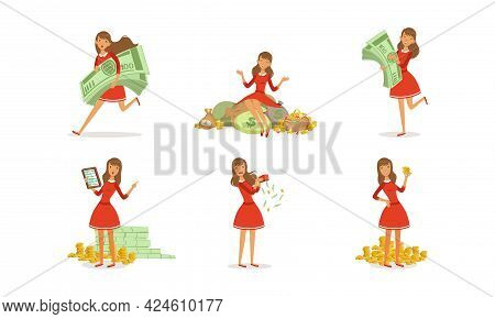Happy Successful Young Woman Millionaire Enjoying Her Money Set, Happy Wealthy Girl Sitting On Piles