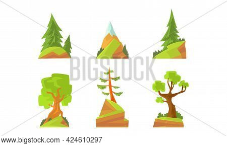 Green Forest Trees Set, Evergreen Pines And Fir Trees Cartoon Vector Illustration