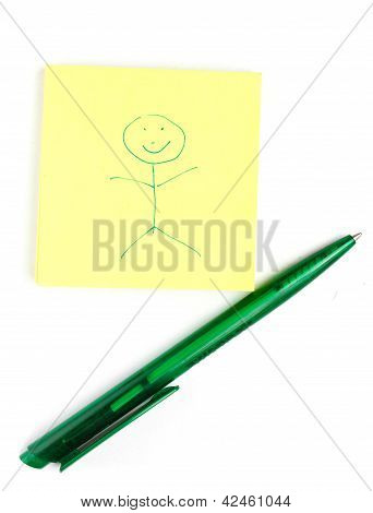 Pad With Funny Drawing And Pen