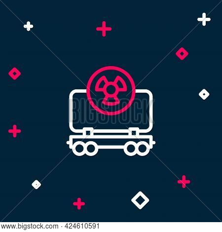 Line Radioactive Cargo Train Wagon Icon Isolated On Blue Background. Freight Car. Railroad Transport