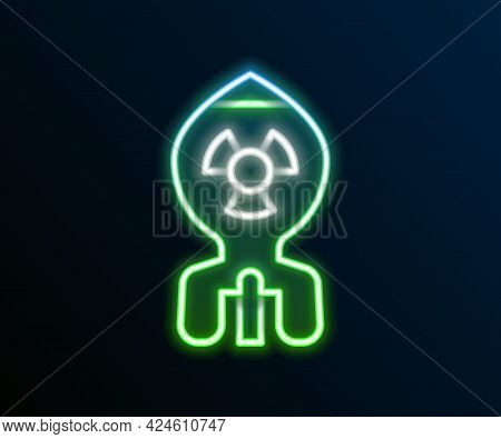 Glowing Neon Line Nuclear Bomb Icon Isolated On Black Background. Rocket Bomb Flies Down. Colorful O