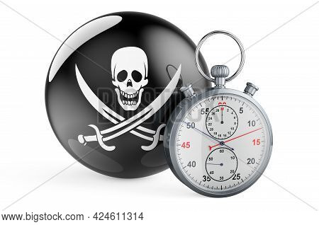 Stopwatch With Piracy Flag, 3d Rendering Isolated On White Background